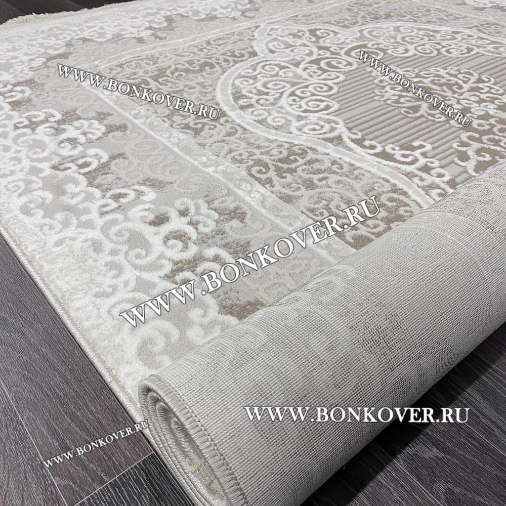 Ковер Коротковорсный Лайт Дизайн 03 Белый с Бежевым